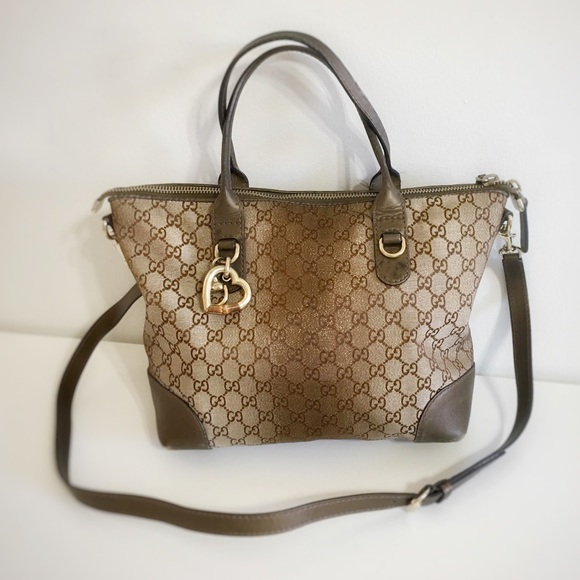 ed486a93194f Gucci Bags | Authentic Heart Beat Brown Canvas Bag | Poshmark